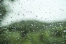 Rain drops on a window in the autumn