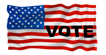 Waving American flag with bold black letters: VOTE