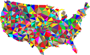 Colorful stylized map of the USA