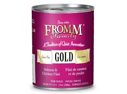 Can of Fromm Gold dog food, Salmon & Chicken Pate