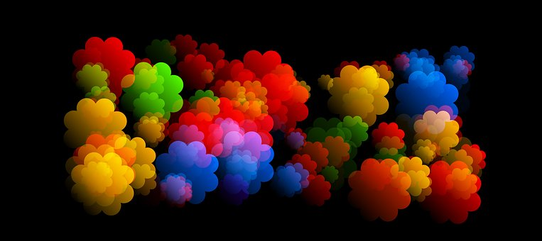 Abstract multi-colored cloud puffs