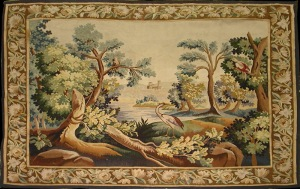 Antique-tapestry of a crane in the forest