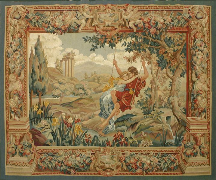 Antique-tapestry of a man and woman in a swing attached to a tree