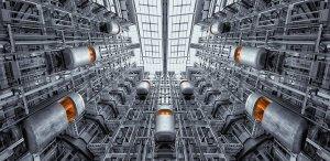 Space age looking elevators in Berlin