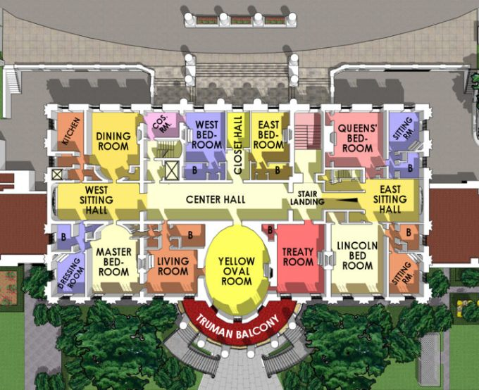 Colorful ariel floor plan - 2nd Floor of the White House