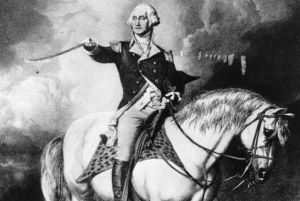"Painting of George Washington in battle uniform sitting his saddle on the back of his horse ""Old Blueskin"""