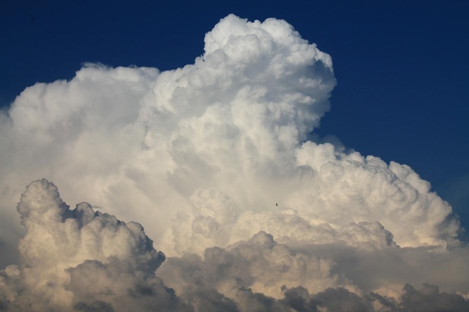 Blue sky with thunderheads