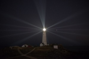 A lighthouse projecting its beam of light at night