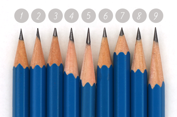 nine blue pencils with nine different points