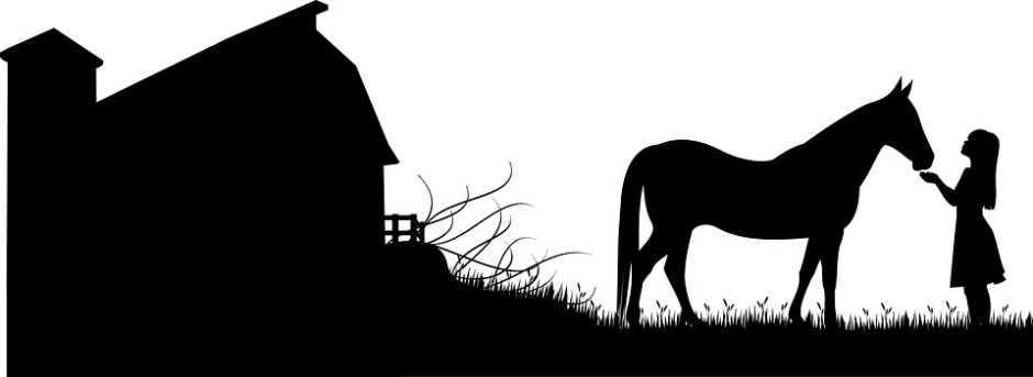 Stylized black and white image of a barn and a horse being hand feed by a long-haired girl in a dress