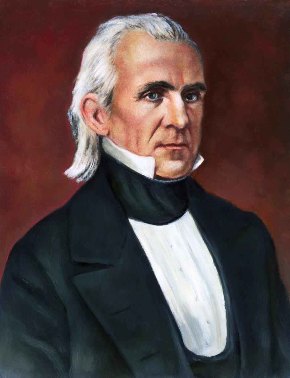 19th century --- President James K. Polk, (1795-1849). An illustrated half-length portrait from a daguerrotype by Matthew Brady. Undated illustration. --- Image by © Bettmann/CORBIS