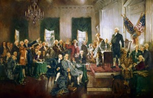 Portrait of founding fathers with Benjamin Franklin as the focal point along with George Washington