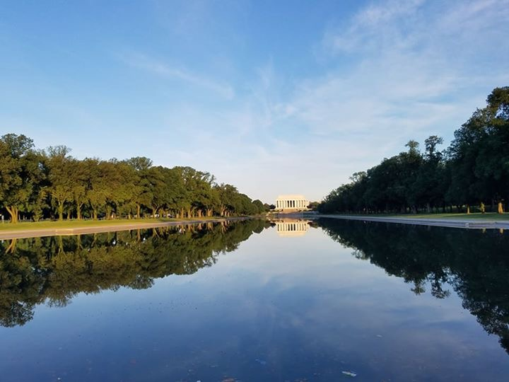View of the Reflecting Pond looking at the Lincoln Memorial