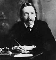 Photography of Robert Louis Stevenson, sitting at a desk with an ink quill in his right hand