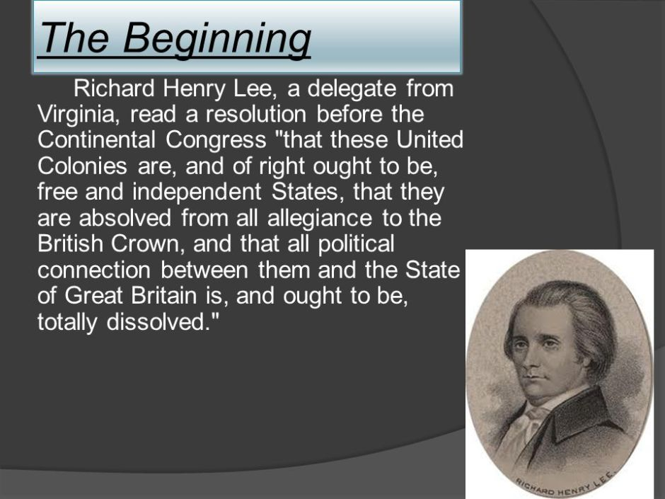 Portrait Richard Henry Lee and his resolution for independence from Great Britain