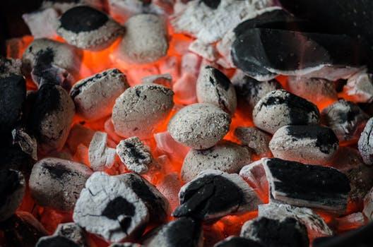 hot charcoal fire