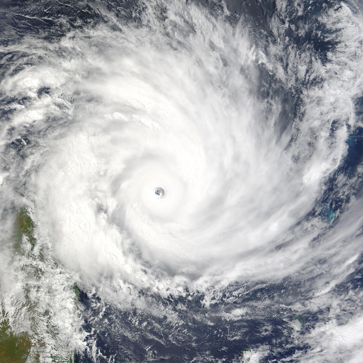 Ariel view of a hurricane in rotation