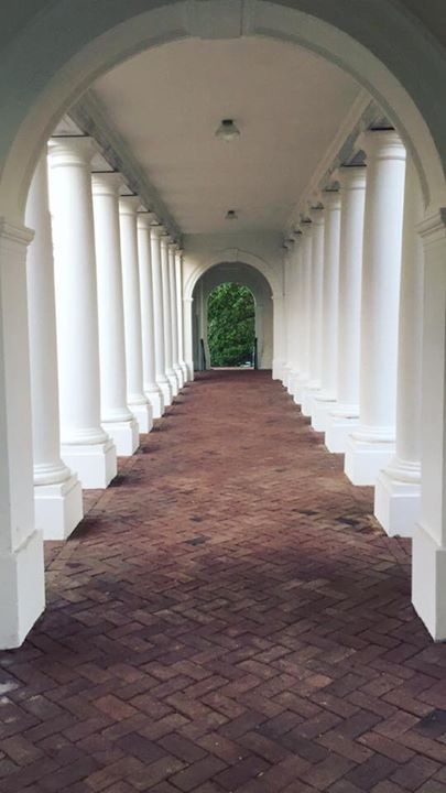 A covered walkway at The University of Virginia