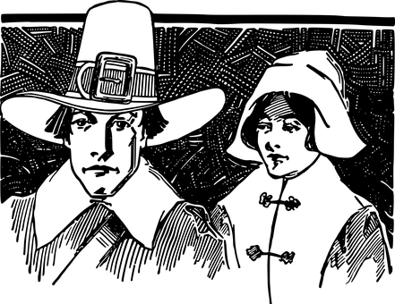 Pilgrim man and woman in black and white