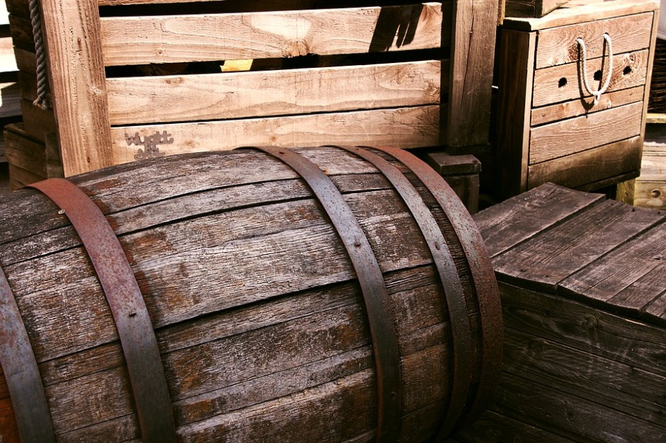 Wooden barrels and wooden crates