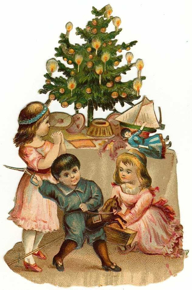 Vintage Christmas compliments of Pinterest. Table tree with candles lite and children playing around their toys and the tree.