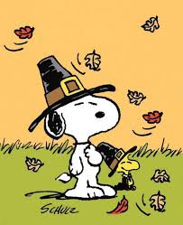 Snoopy dressed as a pilgrim for Thanksgiving
