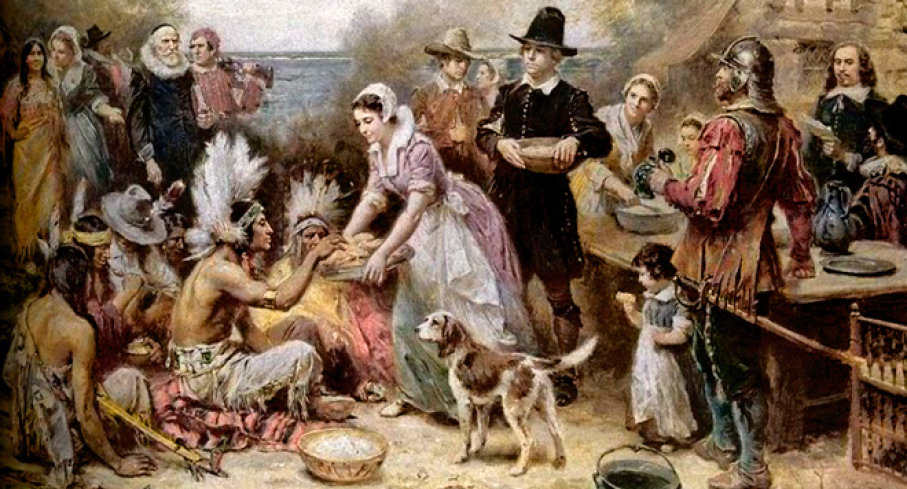 Oil painting of the First Thanksgiving with a dog enjoying the celebration