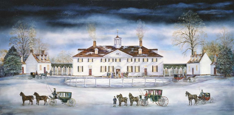 Colorful drawing of Mount Vernon in the winter with carriages and guests arriving by Pinterest