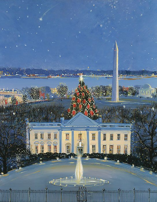 colored drawing of the White House in the winter, with the official White Christmas Tree , Washington Monument and the Potomac River in the background