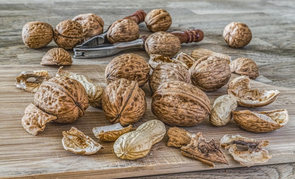 walnuts (tree nuts) and peanuts (legumes) on a cutting board with a nut cracker