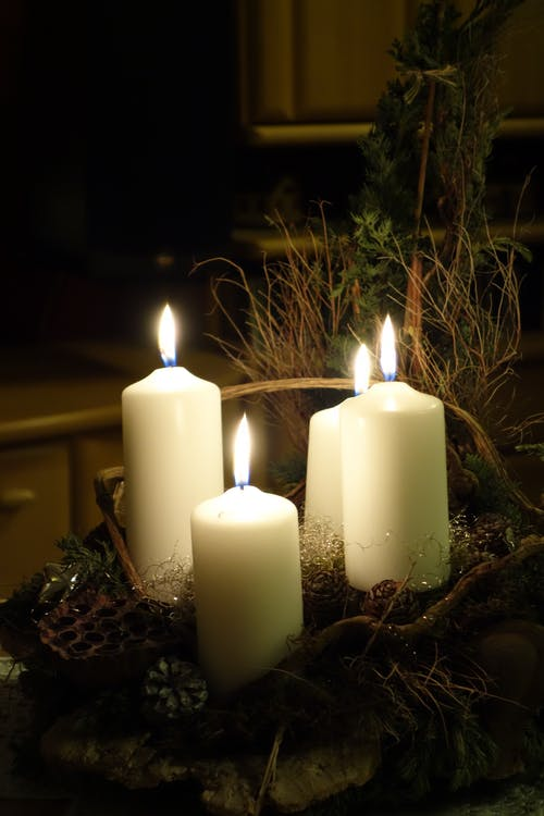 Lighted candles with the glow of Christmas