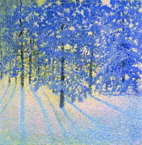 Igor Emmanuilovich Grabar's impressionist painting of sunrise with snow