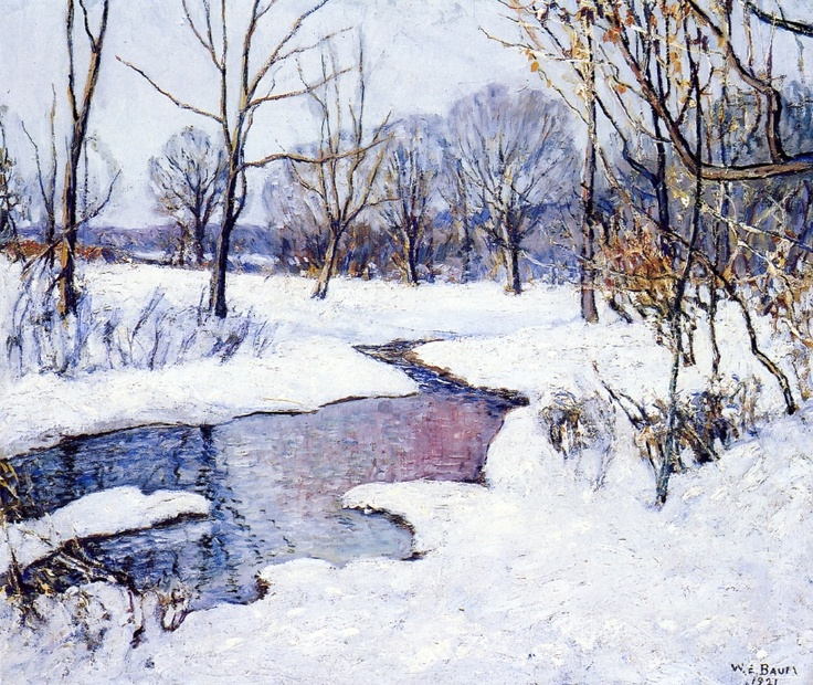 Watercolor of winter scene by Walter Emerson Baum