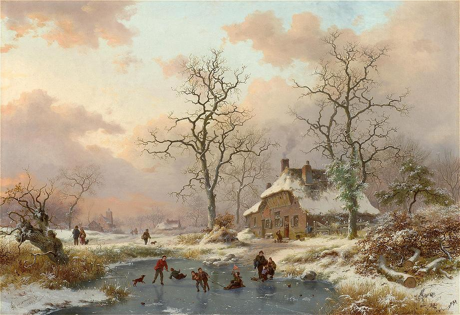 The Frozen Pond : Fredrik Marinus Kruseman : 1882