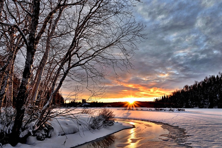 winter landscape at sunset