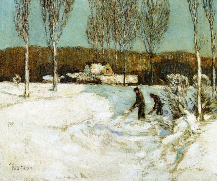 Shoveling Snow, New England, Childe Hassam 1905