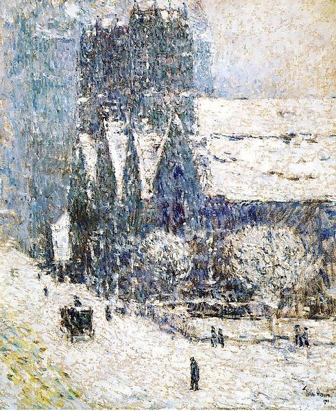 Frederick Childe Hassam-Calvary Church in the Snow