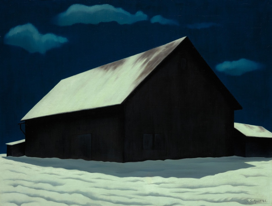 Night painting of a snow covered barn is by American artist George Ault (1891-1948).