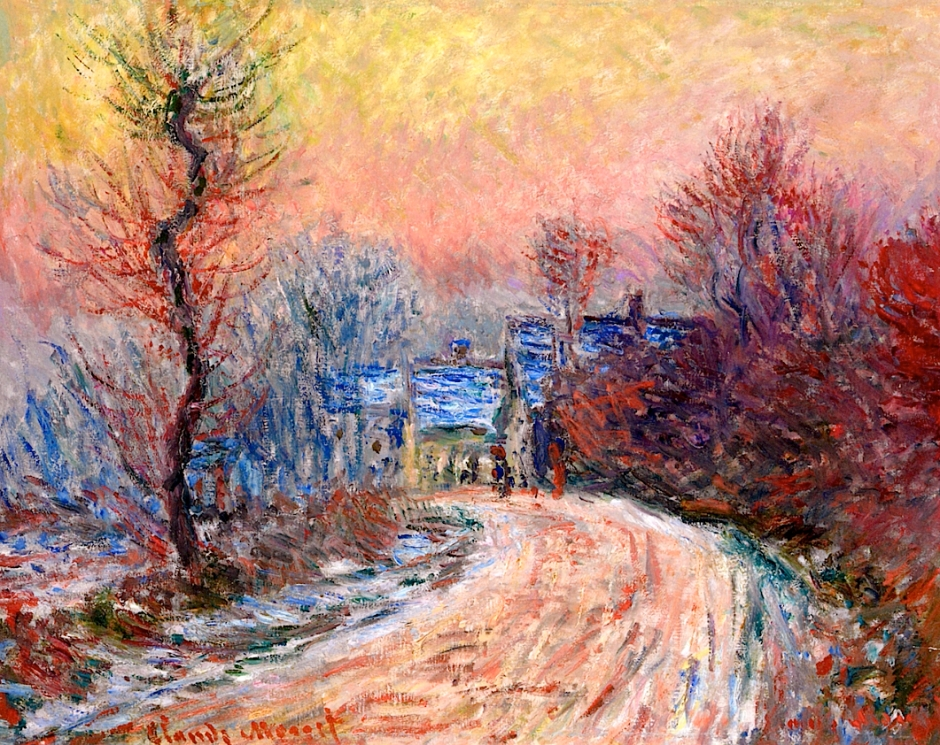 Coming into Giverny in Winter, Sunset / Claude Monet (1885)