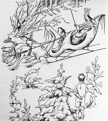 Original sketch of Queen of Narnia in her sled by Pauline Baynes, 1950