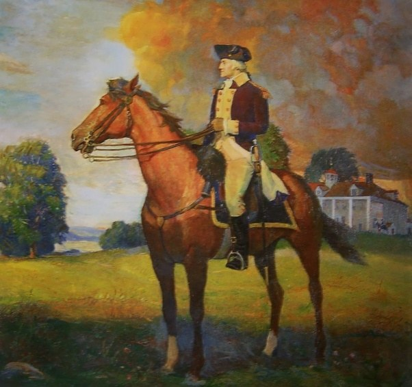"""Painting of George Washington sits on the back of his favorite horse """"Nelson""""."""