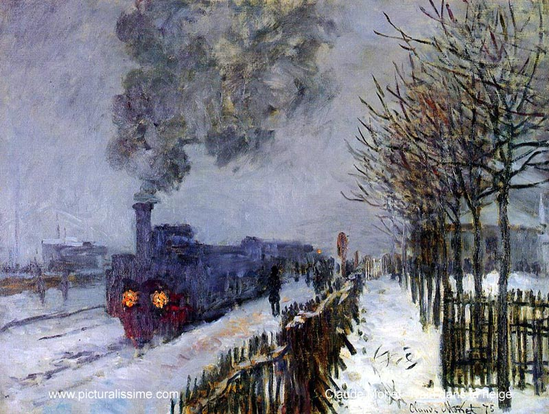 Claude Monet Train in the Snow, the Locomotive. 1875