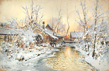 Snowy Mill painting by Walter Moras (Jan. 20, 1856 - March 6, 1925).