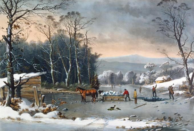 Winter in the Country, Getting Ice by George Henry Durrie-1862