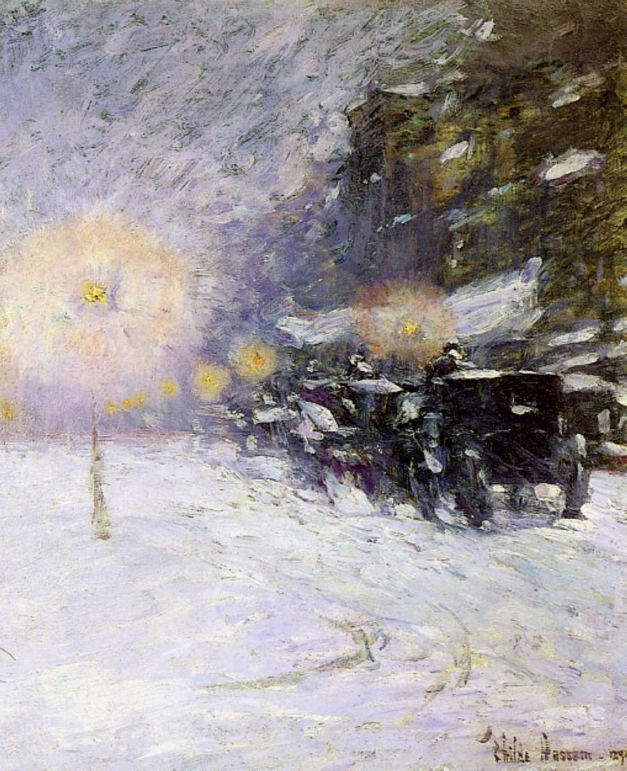 Childe Hassam, impressionist, Winter Midnight
