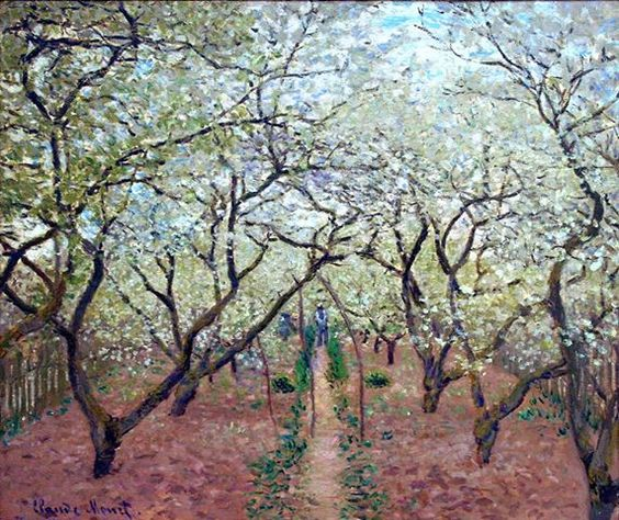 Claude Monet (French, Impressionism, 1840-1926): Orchard in Bloom (Verger en Fleurs), 1879.