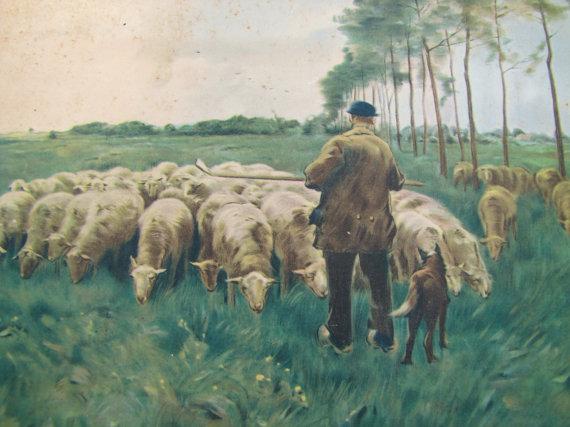 Anton Mauve, Spring- Shepherd, Sheep, Dog- Pastoral Scene