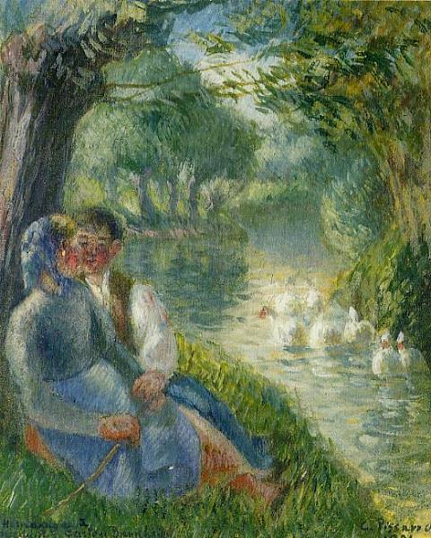 """""""Amoureux assis au pied d'un saule"""" by Camille Pissarro"""