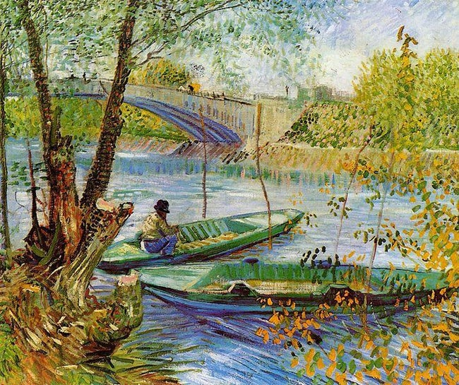 """Fishing in Spring, the Pont de Clichy"" (1887) is a painting by Dutch artist Vincent van Gogh"