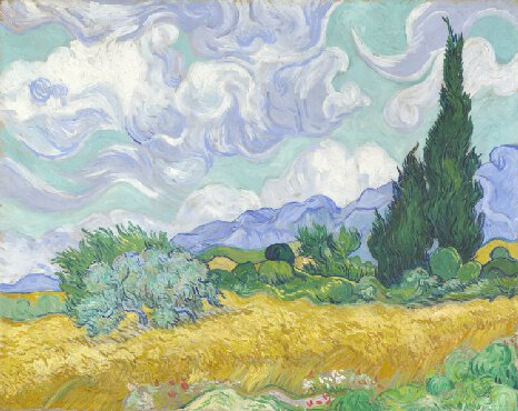 A Wheat field with Cypresses by Vincent van Gogh, 1889